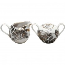 Black Gold Peony Sugar and Creamer Set