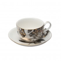 Black Gold Peony Tea Cups and Saucers, Set of 4