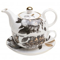 Black Gold Peony 4 Piece Tea for One Set