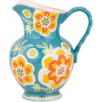 Blue/Gold Floral Hand Crafted Pitcher/Vase