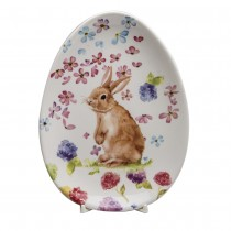 Spring flower Bunny Standing Oval Plates, Set of 4
