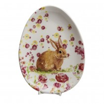 Spring Flower Bunny Sitting Oval Plates, Set of 4