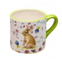 Spring flower Bunny Standing Mugs, Set of 4