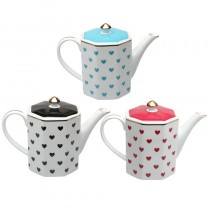 3 Assorted Color Heart Coffee Pots