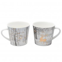 Black Gold 2 Assort Fox and Deer in the Forest V Mugs, Set of 4