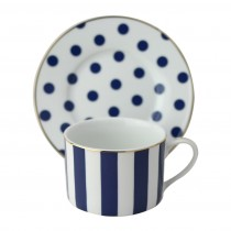 Polka Dots Navy Blue Coffee/Tea Cup Saucer, Set of 4
