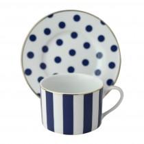 Polka Dots Navy Blue Coffee/Tea Cup Saucer, Set of 4