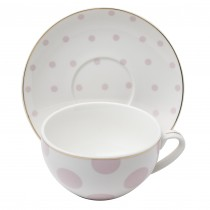 Polka Dots Pink Latte Cup Saucer, Set of 4