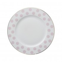 Polka Dots Pink Dessert Plates, Set of 4