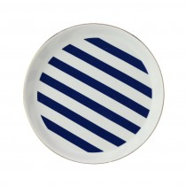 Stripes Navy Blue Edged Dessert Plates, Set of 4
