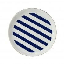 Stripes Navy Blue Edged Dessert Plates, Set of 4