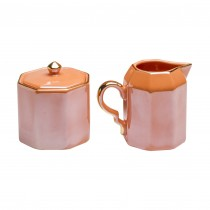 Luster Coral Sugar and Creamer Set