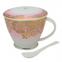 Pink Lace Berry Mug & Cover with Tea Spoon . 3 Piece Set