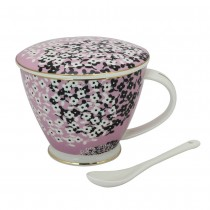Spray Ditsy Mug & cover & spoon 3 pc set