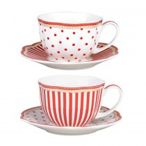 Red Josephine Tea/coffee Cups and Saucers Set, Set of 2