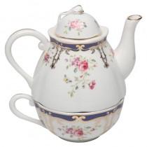 Navy Rose 3 Piece Tea for One Set