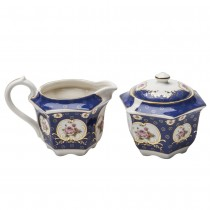 Royal Blue Pink Rose Hexagonal Sugar Creamer