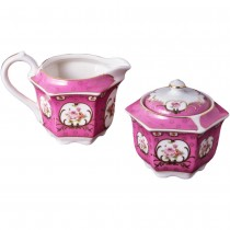 Victorian Pink Rose Hexagonal Sugar Creamer
