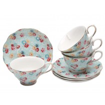 Shabby Rose Blue Tea Cups and Saucers, Set of 4