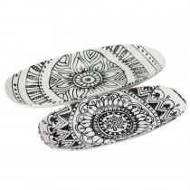 Black BOHO Organic Oval 10 Inch Serving Trays, Set of 2