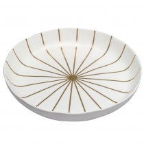 Matte White Grey/Gold Stripes Organic Ceramics - Large Serving Bowls, Set of 2