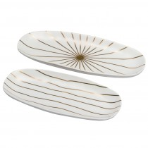 Matte White Grey/Gold Stripes Organic Ceramics - Oval Medium Loaf Trays, Set of 2