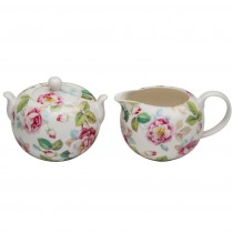 Pink Bloom Sugar and Creamer Set
