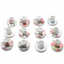 Assorted Chintz Ornament Mini Teacup Saucer, 12 Piece Set