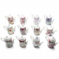 Assorted Chintz Ornament Mini Teapot 12 Piece Set