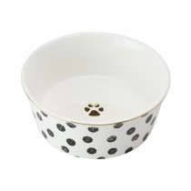 Fido's Diner Cat/dog Bowl-Porcelain Distress Dots Black, Set of 2 - Medium