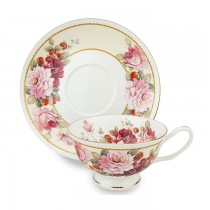 Peony/Strawberry Cream Tea Cups and Saucers Set, Set of 4