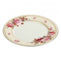 Peony/Strawberry Cream Dessert Plates, Set of 4