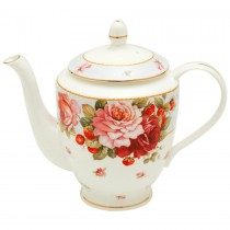 Peony and Strawberry Blue Coffee/Tea Pot