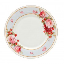 Peony and Strawberry Blue Dessert Plates, Set of 4