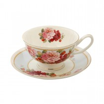 Peony and Strawberry Blue Tea Cups and Saucers Set, Set of 4