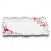 Peony and Strawberry Blue 10.25-Inch Loaf Tray, S/2