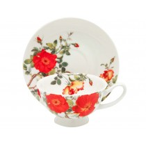 Rose and Poppy Tea Cups and Saucers, Set of 4