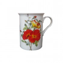 Rose and Poppy Can Mugs, Set of 4