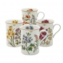 4 Assorted Botanical Floral Can Mugs, Set of 4