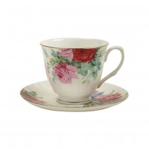 Pink Color English Rose Cup/Saucer, Set of 4