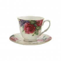 Red Color English Rose Cup/Saucer, Set of 4