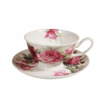 English Rose Tea Cups and Saucers, Set of 4