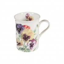 Spring Pansy Can Mugs, Set of 4