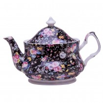 Black Petite Rose Teapot