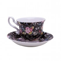 Black Petite Rose Tea Cups and Saucers, Set of 4