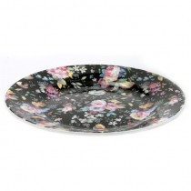 Black Petite Rose Side Plates, Set of 4