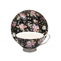 Victoria Black Rose Tea Cups and Saucers, Set of 4