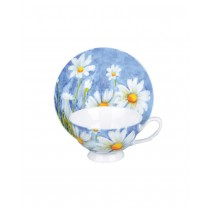 Daisy w/Pastel Blue Tea Cups and Saucers, Set of 4