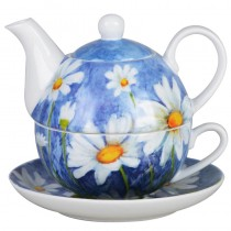 Daisy w/Pastel Blue 4 Piece Tea for One Set