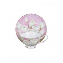 Rose w/Pastel Pink Tea Cups and Saucers, Set of 4